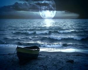 ночное море с луной