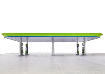 beautiful oil fuel gasoline service station  green and eco