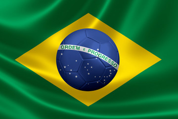 3D Rendering of Soccer Ball in the Heart of a Brazilian Flag