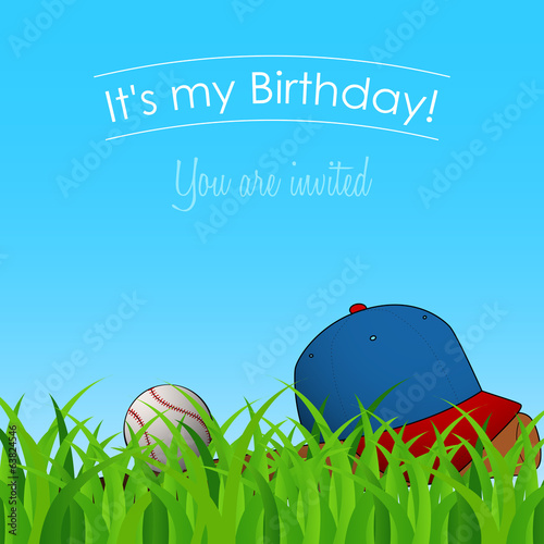 birthday party with baseball cap, ball and bat on grass