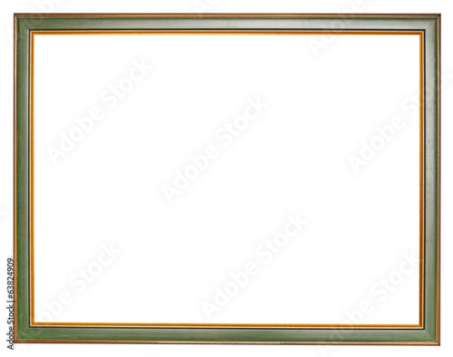 old narrow green wooden picture frame