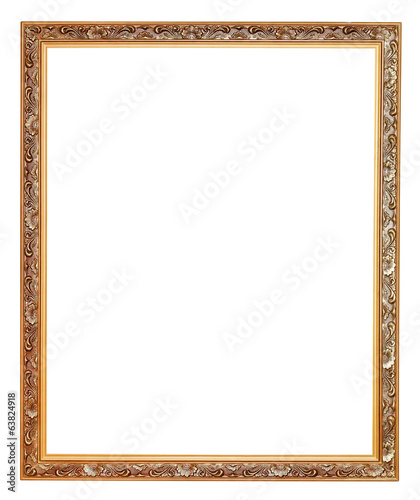 narrow gilted carved old wooden picture frame
