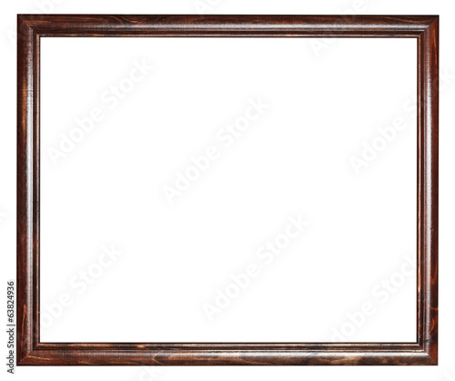 narrow vintage dark brown wooden picture frame
