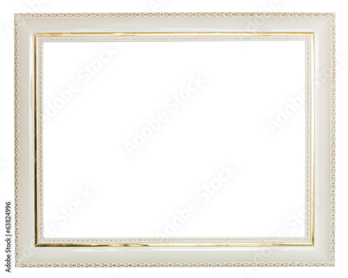 gold decorated white wide wooden picture frame