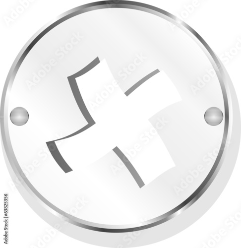 Glossy plus icon isolated on white background