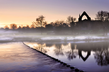 bolton abbey in mist