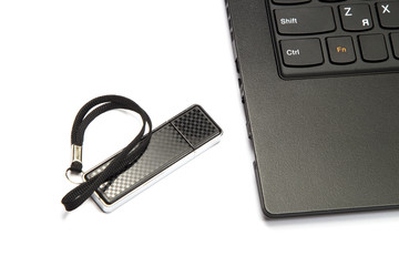 laptop keyboard and usb flash