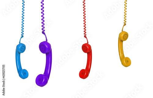 Four colored phones hanging