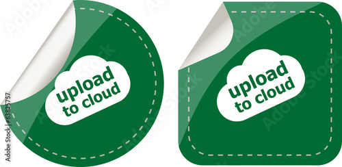 stickers label set business tag with upload to cloud word