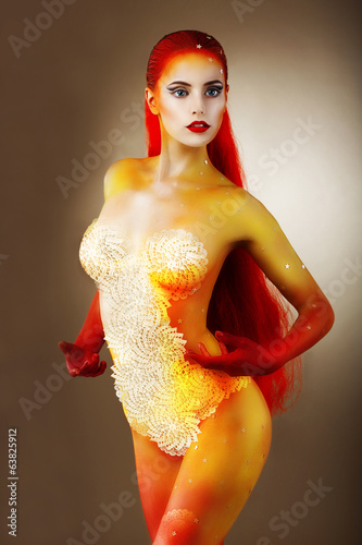 Art Bodypaint. Fancy Woman with Colored Skin