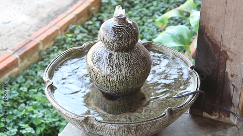 Small Fountain Ornamented Home Garden, stock footage