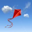 Leinwanddruck Bild - Roter Flugdrachen vor blauem Himmel