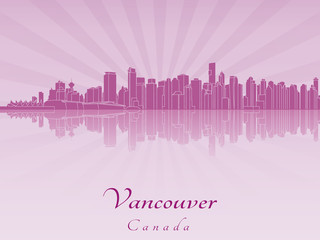Vancouver skyline in purple radiant orchid