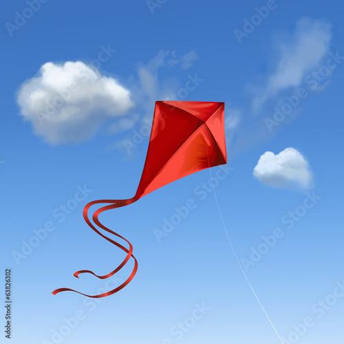 Roter Flugdrachen vor blauem Himmel - 63826302