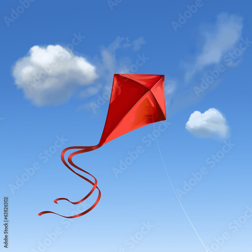 Leinwandbild Motiv Roter Flugdrachen vor blauem Himmel