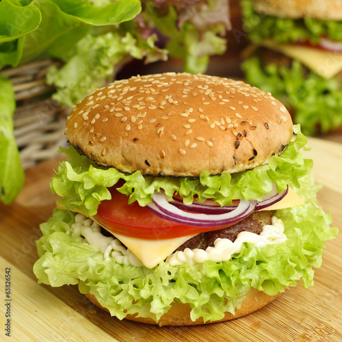 burger with vegetables and beef