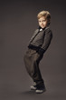 child boy fashion studio portrait, kid smart casual clothing