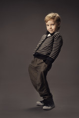 child boy fashion studio portrait, kid smart casual clothing