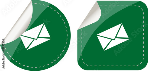 stickers set isolated on white, paper mail envelope, security