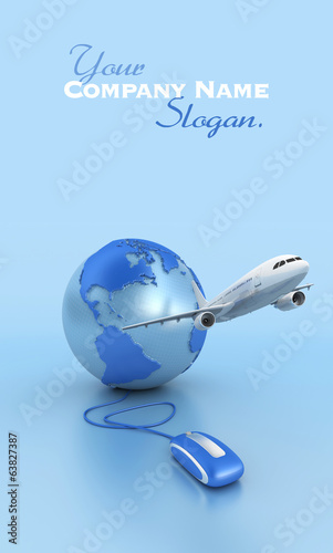 Internet flight booking in blue