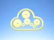 Golden Cloud Computing Icon on blue Sky