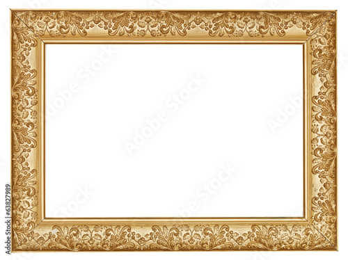 ancient golden carved wide wooden picture frame