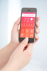 Health book app is scanning heartbeat cardiogram