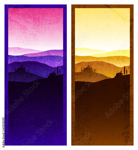 Set of vintage poster with a landscape of Tuscany