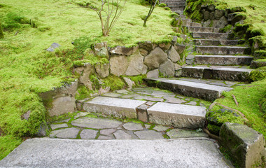 Curving stone stairway