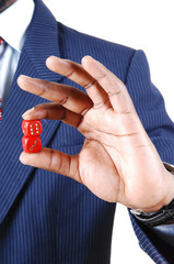 Man holding dice.