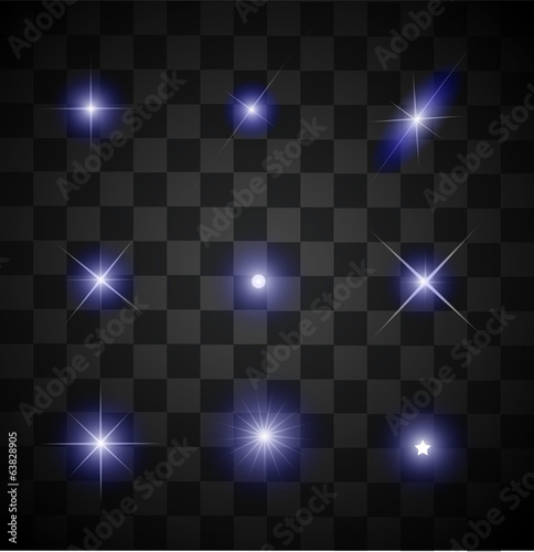 Set of different sparkling blue light effects vector