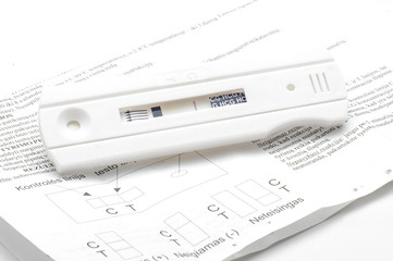 Negative pregnancy test and instruction on the white