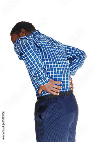 Black man with backache.