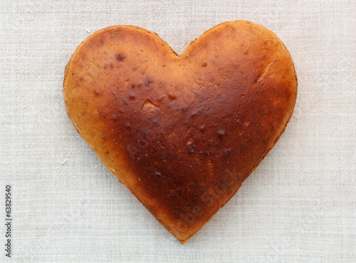 Homemade bread in the shape of heart