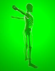 Corpo umano ai raggi x che si stira le braccia