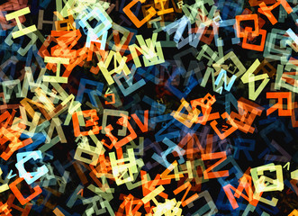 heap of abstract multicolored flying alphabet letters