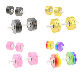 Two adjustable metal dumbbell composition
