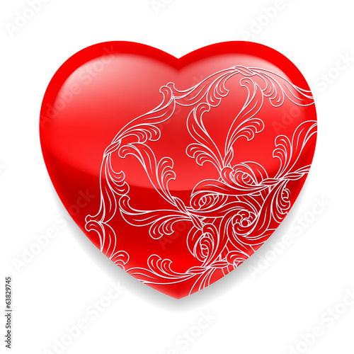 Shiny red heart with decor