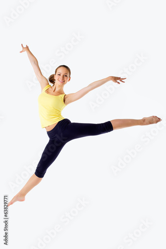 young athletic girl jumping