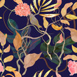 trendy seamless pattern with harbor theme, watecolor plants - 63829976