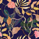 trendy seamless pattern with harbor theme, watecolor plants