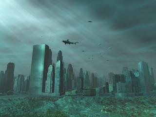Ciudad sumergida en el mar