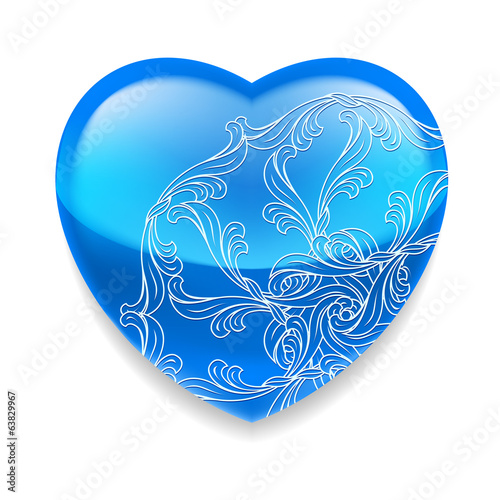 Shiny blue heart with decor