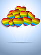 Gay Flag Hearts Balloons Background