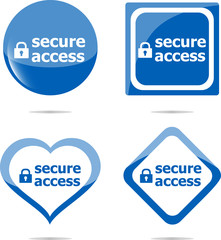 secure access with lock on black stickers set