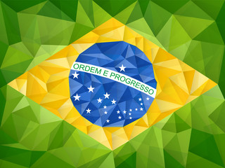 Brazil Country Flag Geometric Background