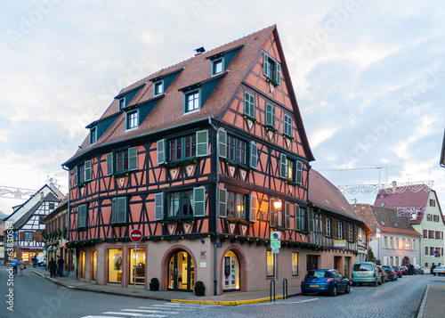 Alsatian style house in Molsheim, Alsace, France