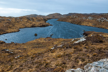 Remote loch in the Scottish Highlands. Assynt, Sutherland.