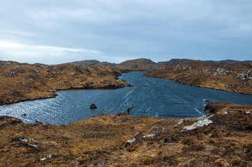 Remote loch in the Scottish Highlands. Assynt, Sutherland