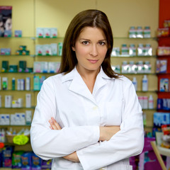 Beautiful female doctor smiling in pharmacy